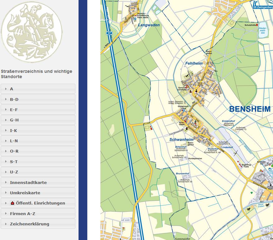Straßenverzeichnis der Stadt Bensheim